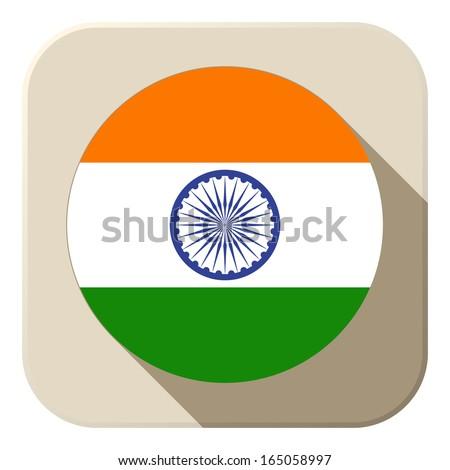 Vector - India Flag Button Icon Modern - stock vector