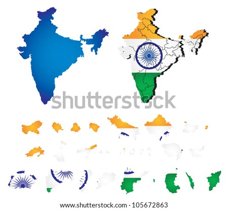 Vector India map with flag - stock vector