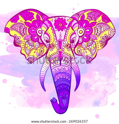 Vector Indian Decorative Elephant on the Henna Indian Ornaments - stock vector