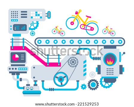 Vector industrial illustration background of the factory for manufacture bikes. Color bright flat design for banner, web, site, advertising, print, poster. - stock vector