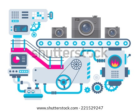Vector industrial illustration background of the factory for manufacture cameras. Color bright flat design for banner, web, site, advertising, print, poster. - stock vector
