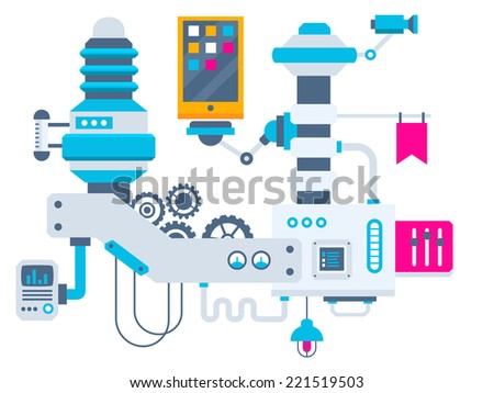 Vector industrial illustration background of the factory for measurement of the parameters phone. Color bright flat design for banner, web, site, advertising, print, poster. - stock vector