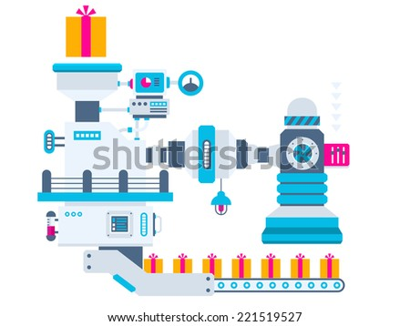 Vector industrial illustration background of the factory for producing gift boxes with bow. Color bright flat design for banner, web, site, advertising, print, poster. - stock vector