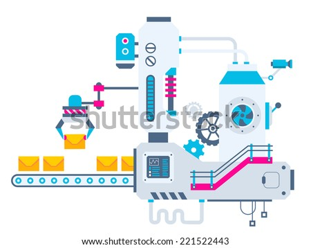 Vector industrial illustration background of the factory for sorting envelopes. Color bright flat design for banner, web, site, advertising, print, poster. - stock vector