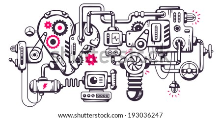 Vector industrial illustration background of the operating mechanism. Working heart. Line Art  - stock vector