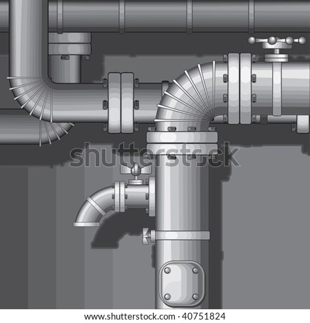 Vector Industrial Pipe Background with faucet - stock vector