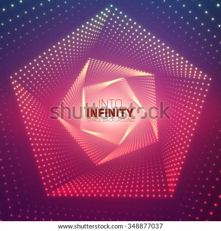 Vector infinite pentagonal twisted tunnel of shining flares on violet background. Glowing points form tunnel sectors. Abstract cyber colorful background for your designs. Geometric wallpaper. - stock vector