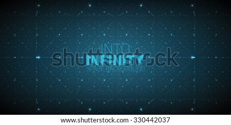 Vector infinite space background. Matrix of glowing stars with illusion of depth and perspective. Geometric backdrop with point array as lattice nodes. Abstract futuristic universe on dark background. - stock vector