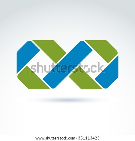 Vector infinity icon isolated on white background, illustration of bright complex eternity symbol, geometric abstract eternity sign.  - stock vector