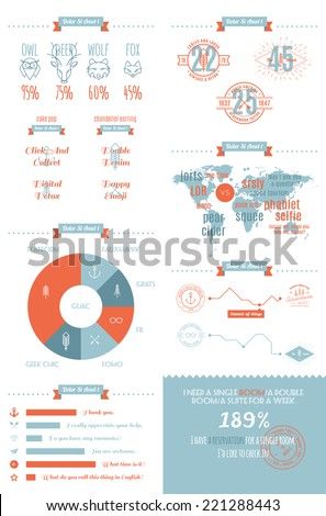 vector info graphics set in the style of a hipster. Trendy Retro Vintage Insignias. - stock vector