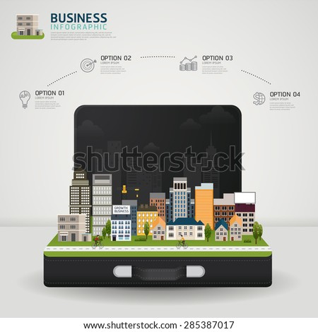Vector Infographic Business concept. business briefcase with glowing city town earth globe success concept - stock vector