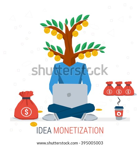 Vector infographic business idea monetization. Man worker sits with computer and coffee - money tree instead of head. Flat concept process of idea creation and monetization. Flat style. Infographics - stock vector