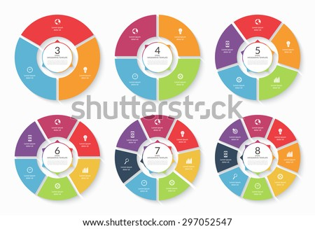 Vector infographic circle set. Templates for cycling diagram, graph, round chart, workflow layout, number options, web design. Business concept with 3, 4, 5, 6, 7, 8 steps, parts, options - stock vector