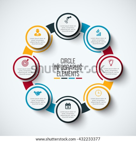 Vector infographic design template. Business concept with 8 options, parts, steps or processes. Can be used for workflow layout, diagram, number options, web design. Data visualization. - stock vector