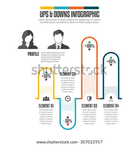 Vector infographic illustration of ups and downs graphic bars - stock vector