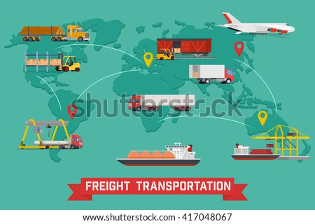 Vector infographic of worldwide shipping, heavy transport, delivery ways and logistics in business and industry with warehouse, trucks, airplane, railway and seaway cargo ship with abstract world map - stock vector