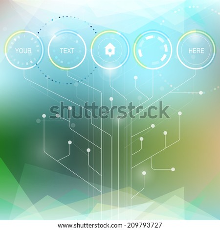 Vector infographic or web design template. Abstract technology hi-tech circuit board. - stock vector
