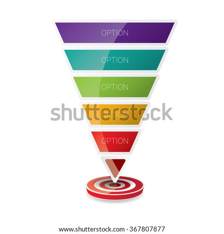 Vector infographic or web design template . vector Flat sales funnel - stock vector