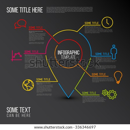 Vector Infographic report template made from lines and icons with location pointer - dark version - stock vector