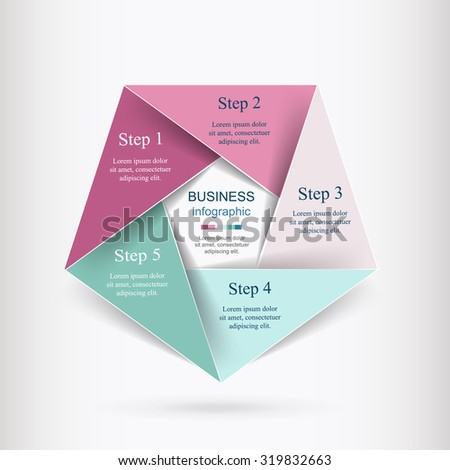 Vector infographic. Template for diagram, graph, presentation and chart. Business concept with 5 options, parts, steps or processes.  - stock vector