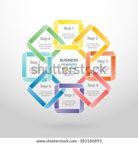 Vector infographic. Template for diagram, graph, presentation and chart. Business concept with 8 options, parts, steps or processes.  - stock vector