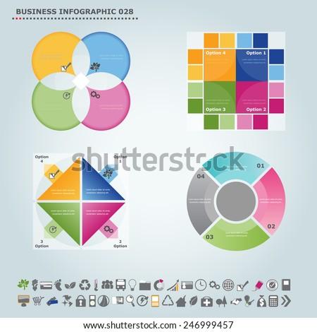 Vector infographic template : Infographic, infochart , diagram & flowchart design for presentation & business (Part 28) - stock vector
