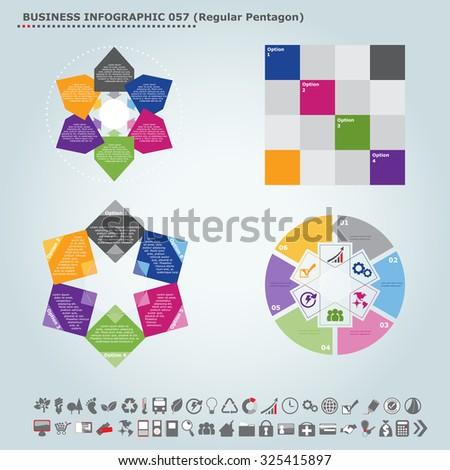 Vector infographic template (regular pentagon): Infographic, infochart , diagram & flowchart design for presentation & business (Part 57) - stock vector