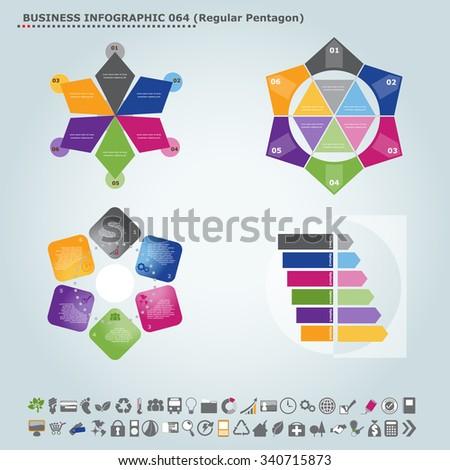 Vector infographic template (regular pentagon): Infographic, infochart , diagram & flowchart design for presentation & business (Part 64) - stock vector