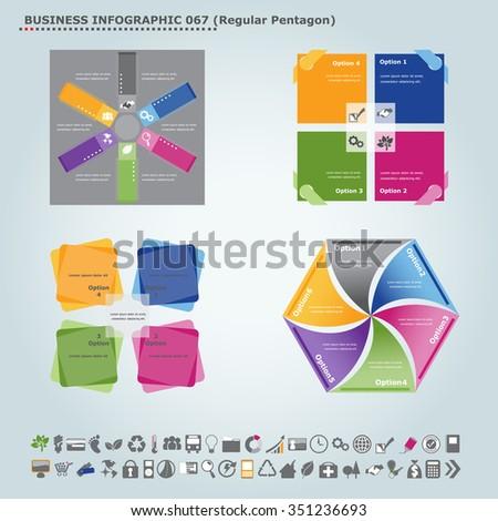 Vector infographic template (regular pentagon): Infographic, infochart , diagram & flowchart design for presentation & business (Part 67) - stock vector