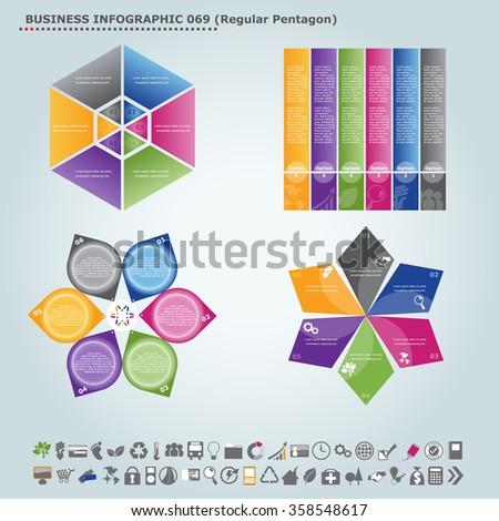 Vector infographic template (regular pentagon): Infographic, infochart , diagram & flowchart design for presentation & business (Part 69) - stock vector