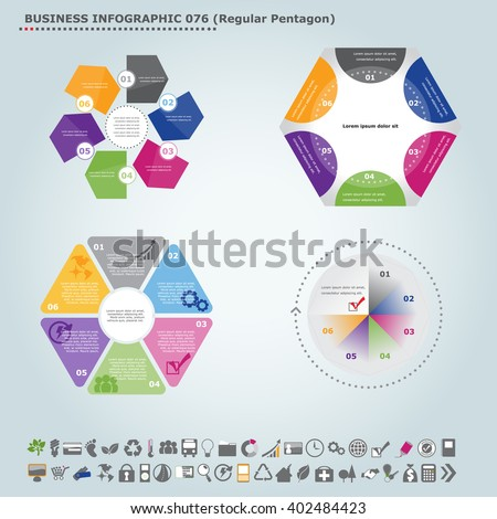 Vector infographic template (regular pentagon): Infographic, infochart , diagram & flowchart design for presentation & business (Part 76) - stock vector
