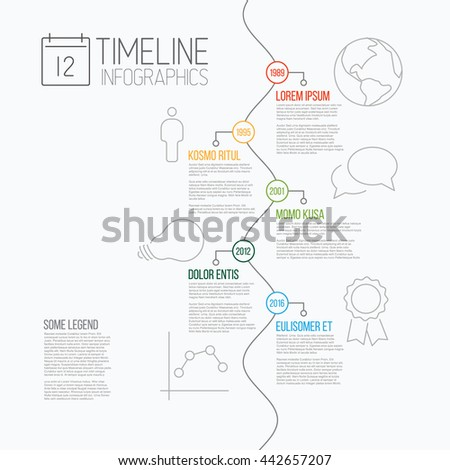 Vector Infographic timeline report template with the biggest milestones, icons, years and descriptions - all events are on serpentine line - stock vector