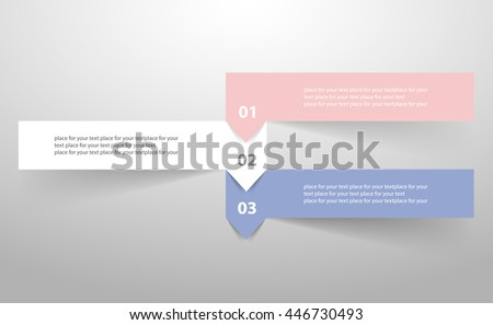 Vector infographic with pantone colors of the year 2016 Rose Quartz and Serenity. Template for diagram, graph, presentation and chart. Business concept with 3 options, parts, steps or processes.  - stock vector