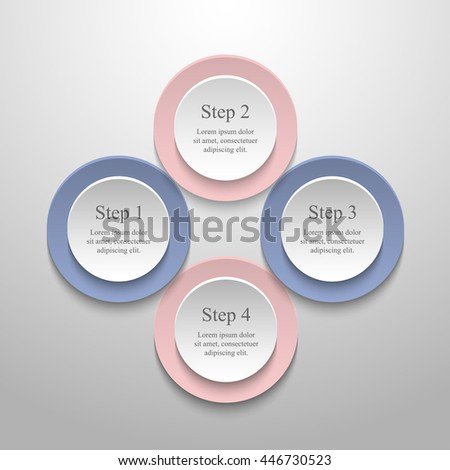 Vector infographic with pantone colors of the year 2016 Rose Quartz and Serenity. Template for diagram, graph, presentation and chart. Business concept with 4 options, parts, steps or processes.  - stock vector