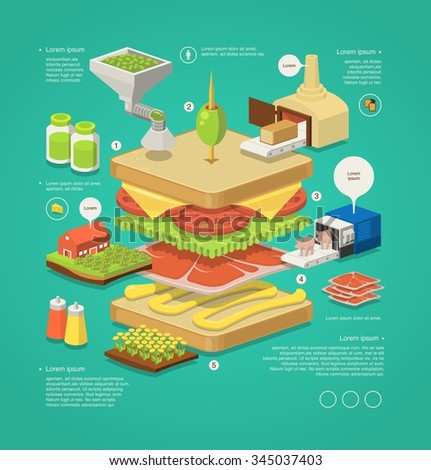 vector infographic with sandwich - stock vector