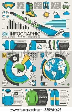 Vector infographic with ski elements - stock vector