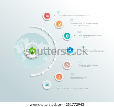 Vector infographics element with a circles and business icons. The gears communicate with circles. Clean, minimalist design. For informational graphs, reports, registration data, websites, printed - stock vector