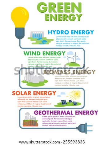 vector infographics elements for a green ecological energy production - stock vector