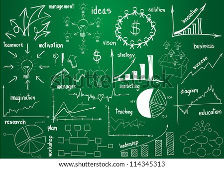 Vector infographics elements graphics and diagrams, drawing on green board - stock vector