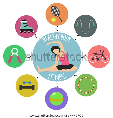 Vector infographics icon set about healthy sport life in flat style. Woman doing stretching exercises. Icons with a hoop, ball, tennis rackets, roller skates, ropes, dumbbell, bike - stock vector