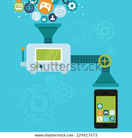 Vector infographics in flat style - app development for mobile phone - programming and creating application  - stock vector