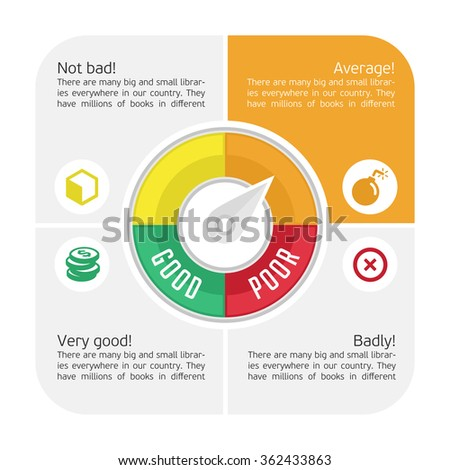 Vector infographics of displaying the Credit Score Gauge description. Credit counter. - stock vector