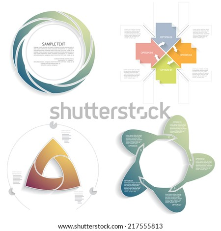 Vector infographics set, business concept with three, four, five, six options - stock vector