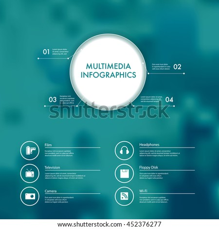 Vector infographics with multimedia and technology icons. - stock vector