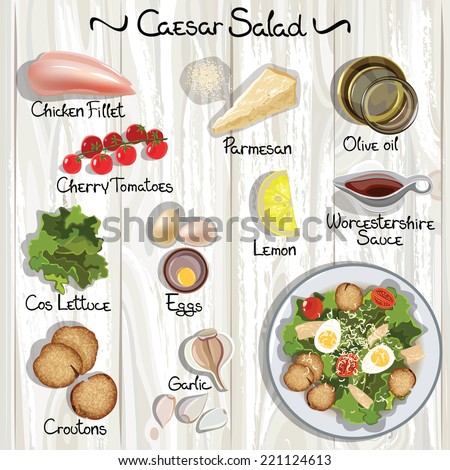 Vector ingredients for Caesar salad. Caesar salad. Vector illustration  - stock vector