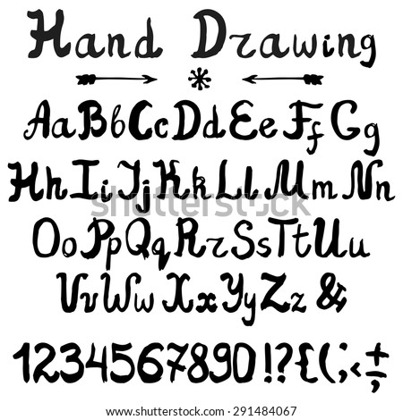 Vector ink alphabet,font.Hand drawn letters,numbers,marks.English Letters  written with brush,artistic sketch.Sign  set. Black isolated - stock vector