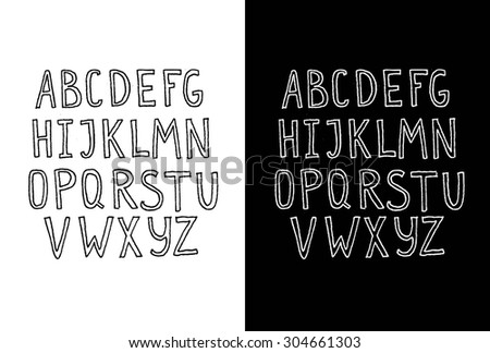 Vector Ink Alphabet. Ink Font. ABC Painted Letters. Modern Brushed Lettering. Painted Alphabet. Hand drawn vector alphabet - stock vector