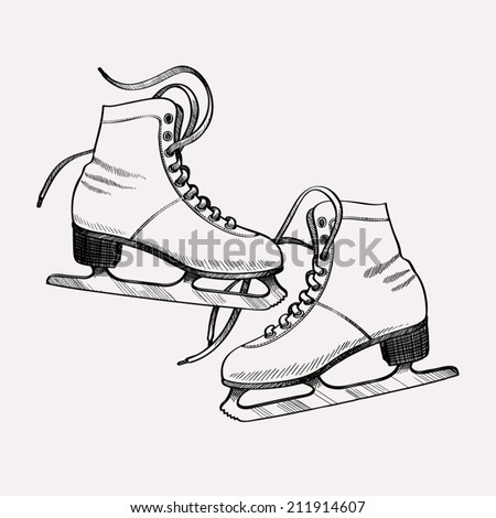 Vector ink drawing stylized illustration of classic ice skates for figure skating | Winter recreational item: ice skates for ladies retro engraving - stock vector