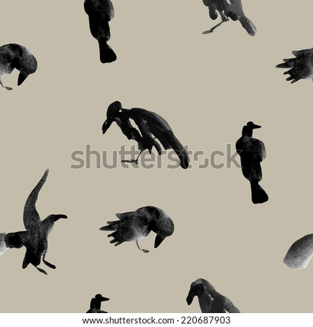 Vector ink drawn silhouettes of ravens arranged in a seamless pattern - stock vector