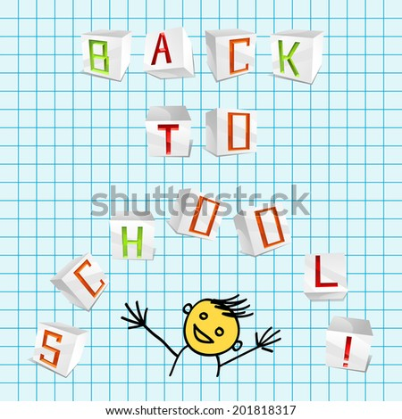 Vector inscription Back to school from 3D volume parer cubic letters on the school sheet of paper - stock vector